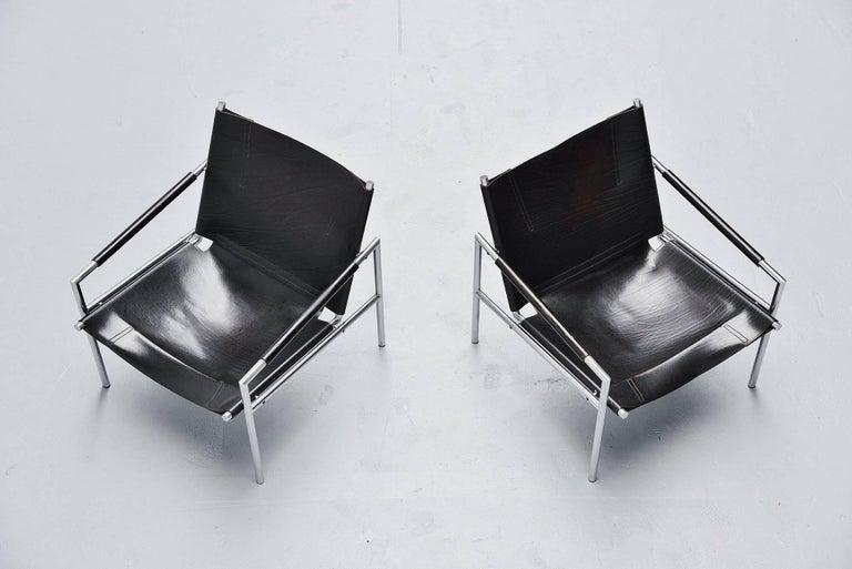 Mid-Century Modern Martin Visser SZ01 Easy Chairs Black 't Spectrum, 1965 For Sale
