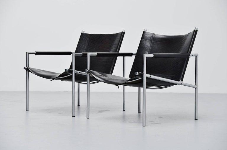 Dutch Martin Visser SZ01 Easy Chairs Black 't Spectrum, 1965 For Sale