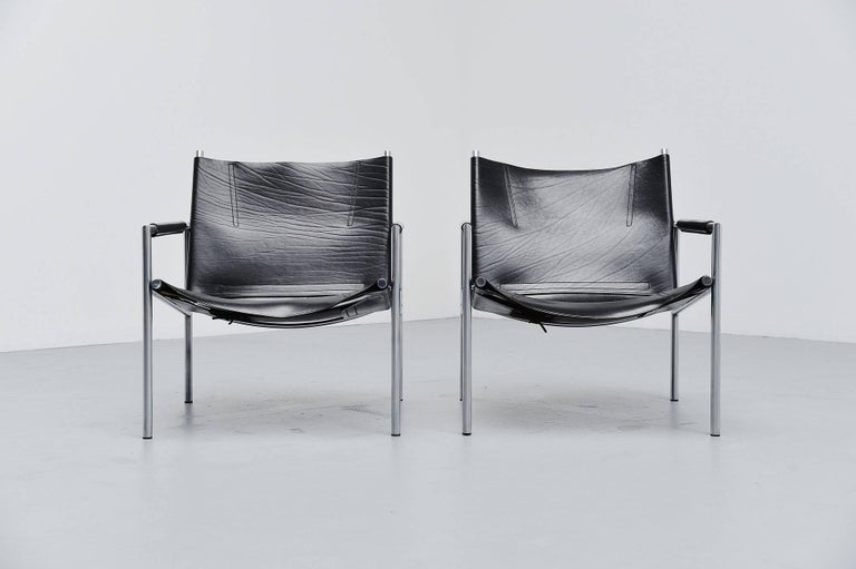 Martin Visser SZ01 Easy Chairs Black 't Spectrum, 1965 In Excellent Condition For Sale In Roosendaal, Noord Brabant