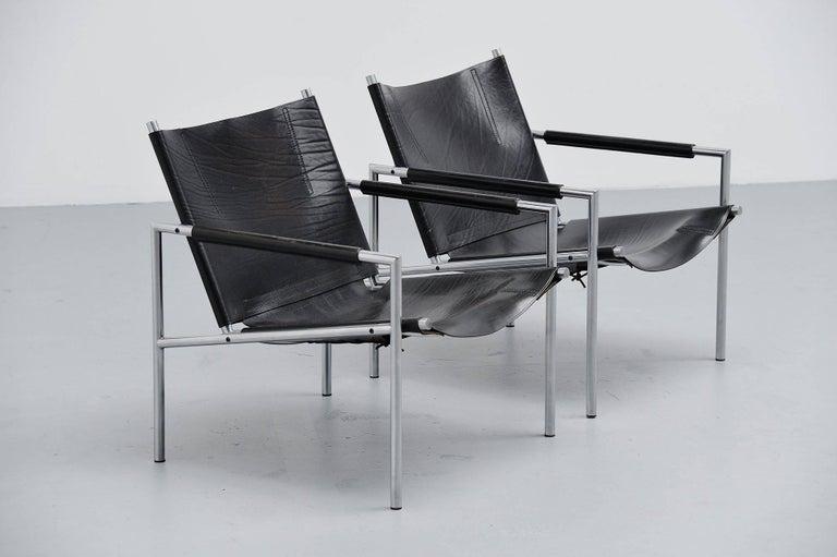 Mid-20th Century Martin Visser SZ01 Easy Chairs Black 't Spectrum, 1965 For Sale