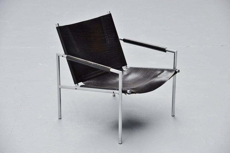 Stainless Steel Martin Visser SZ01 Easy Chairs Black 't Spectrum, 1965 For Sale