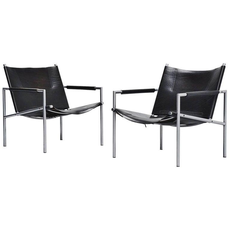 Martin Visser SZ01 Easy Chairs Black 't Spectrum, 1965 For Sale
