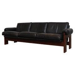 Martin Visser Wenge and Black Leather 3-Seat Sofa
