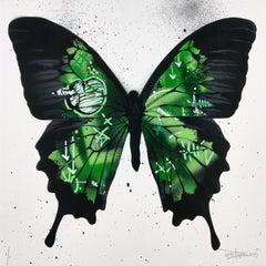 Butterfly (Green), by Martin Whatson, Original Piece, Street Art Stencil