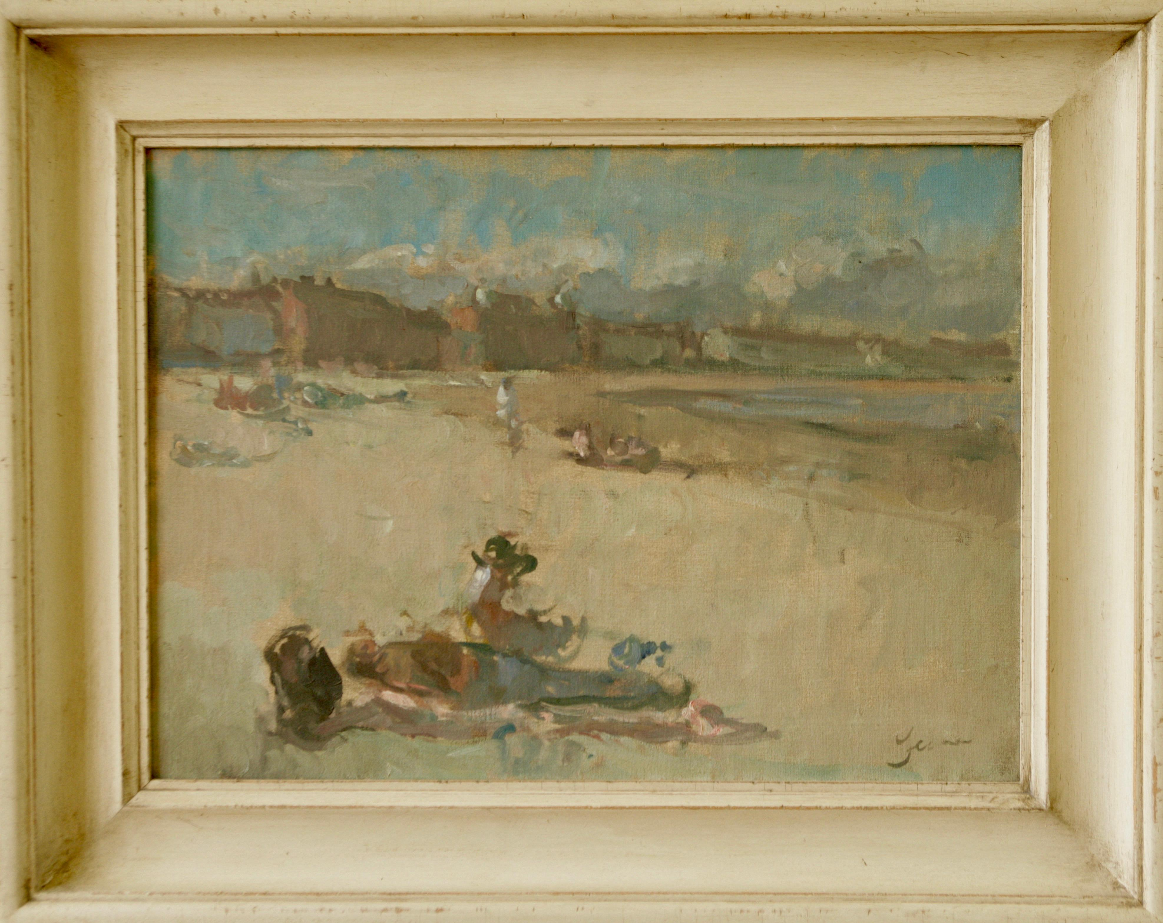 HOLIDAY BEACH WEYMOUTH.Martin Yeoman NEAC.RP contemporary British artist