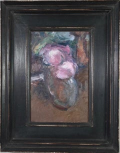Roses in a Perfume Bottle,, Martin Yeoman. still life oil painting