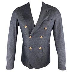 MARTIN ZELO Navy Dots Cotton Blend Peak Lapel Size 36 Sport Coat