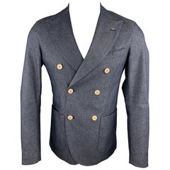 MARTIN ZELO Size 36 Navy Dots Cotton Blend Double Breasted Sport Coat