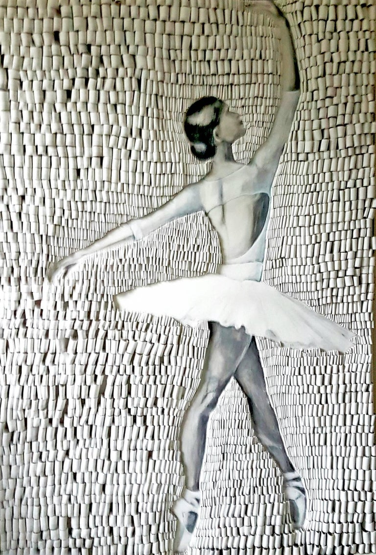 Ballerina 2 - Looped Canvas texture and acrylic painting on canvas