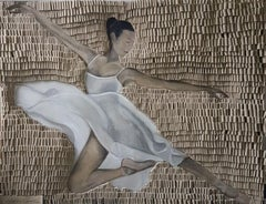 Ballerina beige by Martin Hamrik Looped Canvas Elegant Modern painting on canvas