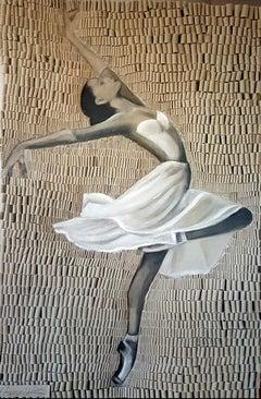 Swan Ballerina by Martin Hamrik Looped Canvas Elegant Modern painting on canvas