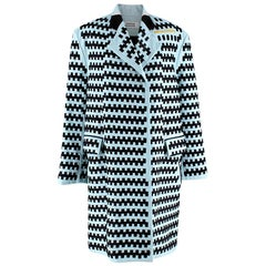 Martina Spetlova Blue Woven Leather Coat - Size US10