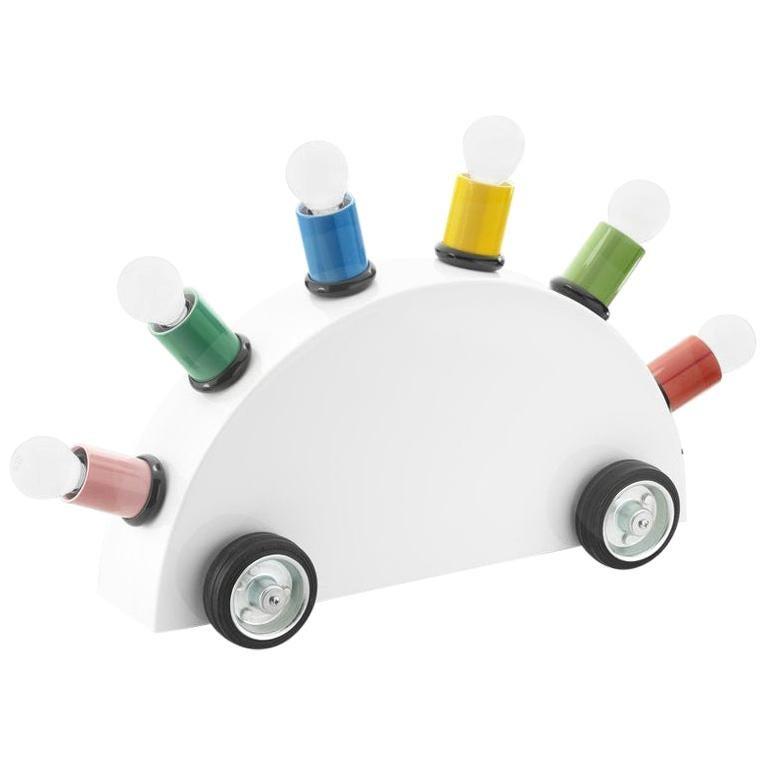Martine Bedin White Super Table Lamp w/ Colored Lamp Holders for Memphis Srl For Sale