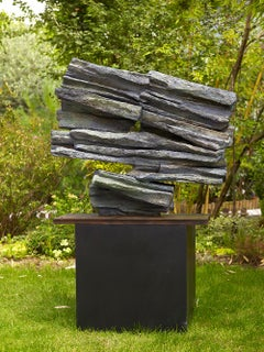 Signs and Writings No. 3 by Martine Demal - Outdoor bronze sculpture, Abstract