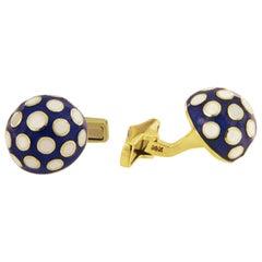 Martine Enamel and 14 Karat Gold Cufflinks