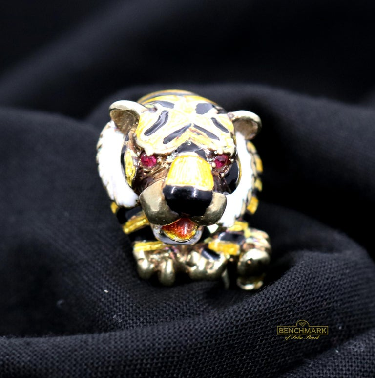 Women's Martine Gold Enamel Tiger Ring For Sale