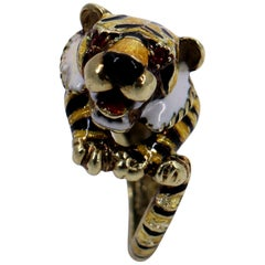 Martine Gold Enamel Tiger Ring