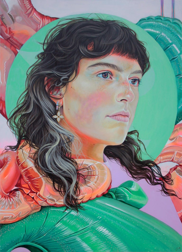 Martine Johanna Figurative Painting - Sink in Sound, acrylic on panel