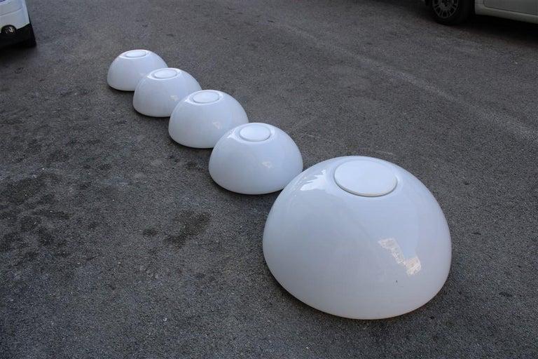 Mid-Century Modern Martinelli Large convex Plexiglass Wall Lights Italian Design White, 1970s For Sale