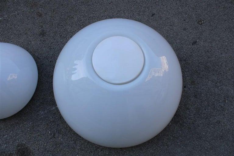 Late 20th Century Martinelli Large convex Plexiglass Wall Lights Italian Design White, 1970s For Sale
