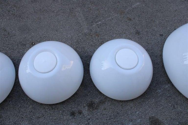 Martinelli Large convex Plexiglass Wall Lights Italian Design White, 1970s For Sale 1