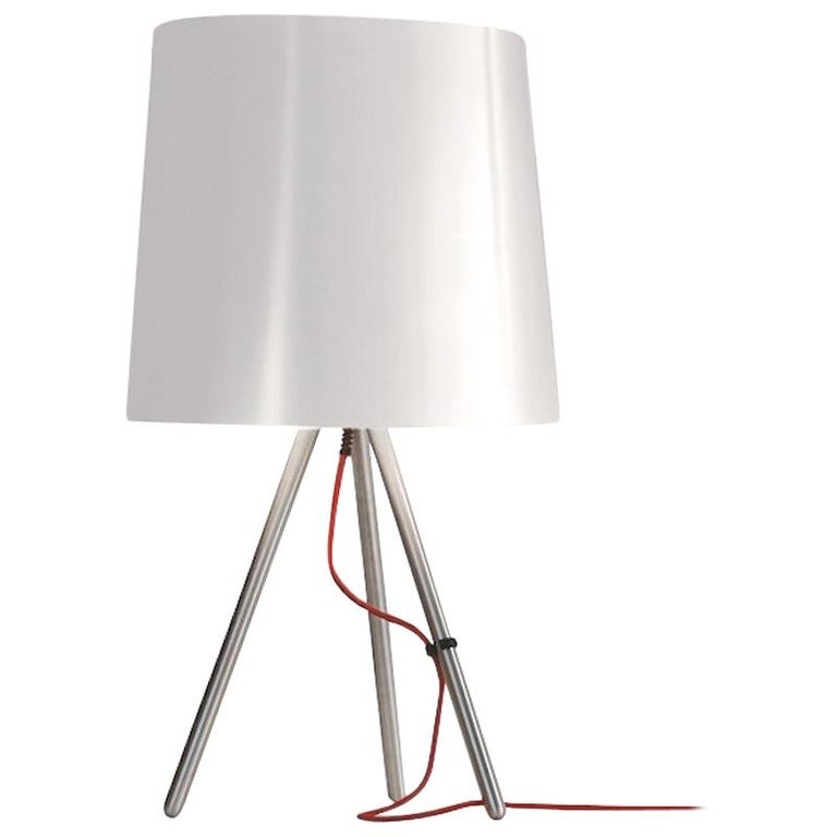 For Sale: White Martinelli Luce Eva 798 Large Table lamp with Satin Aluminum Body