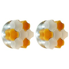 Martinelli Luce Rare Pair of White and Orange Glass Wall or Flush Lights, 1963