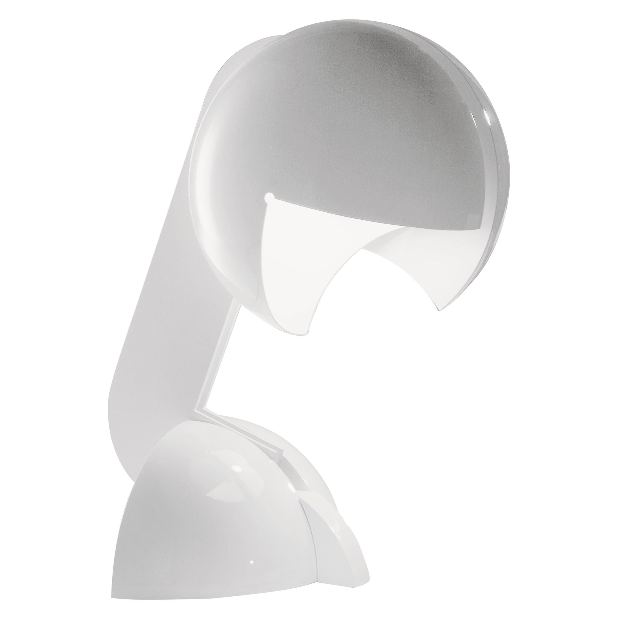 Martinelli Luce Ruspa 633 Table Lamp in White with One Arm by Gae Aulenti