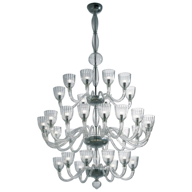 Martinengo 32-Light Chandelier in Crystal by Venini For Sale