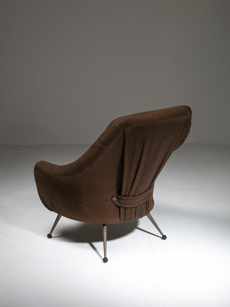 Martingala lounge chair by Marco Zanuso for Arflex. Rare version with detachable backrest. Also available a second chair with different fabric.