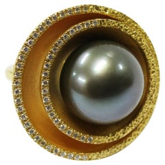 Martini Cocktail Ring in 22k Gold with Tahitian Pearl & Diamonds by Tagili