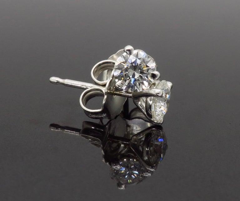 Round Cut Martini Style Diamond Stud Earrings For Sale