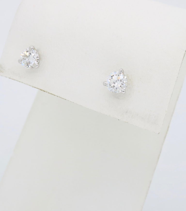 Martini Style Diamond Stud Earrings In New Condition For Sale In Webster, NY