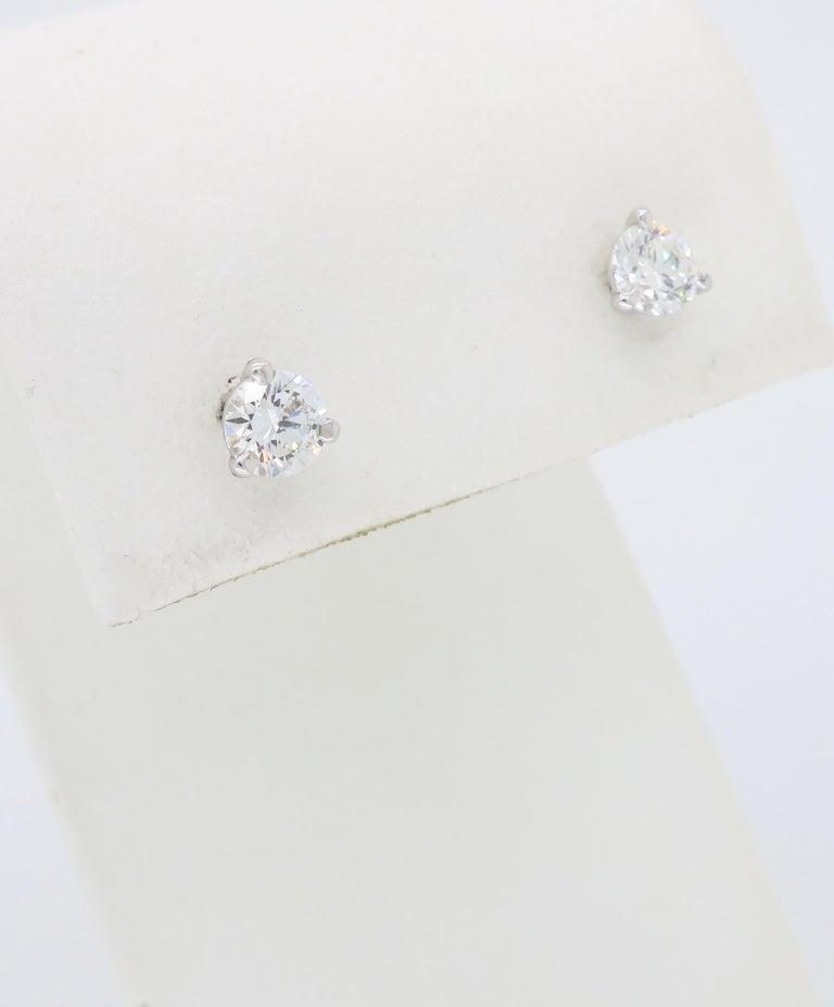 Women's or Men's Martini Style Diamond Stud Earrings For Sale