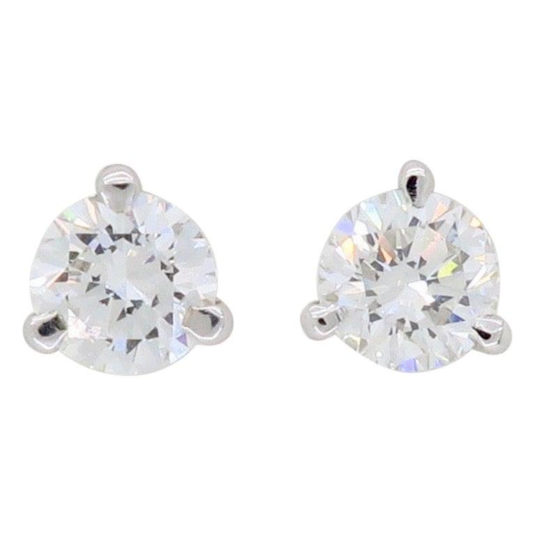 Martini Style Diamond Stud Earrings For Sale