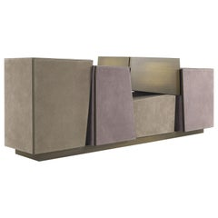 Martinica Sideboard in Wood and Leather by Roberto Cavalli