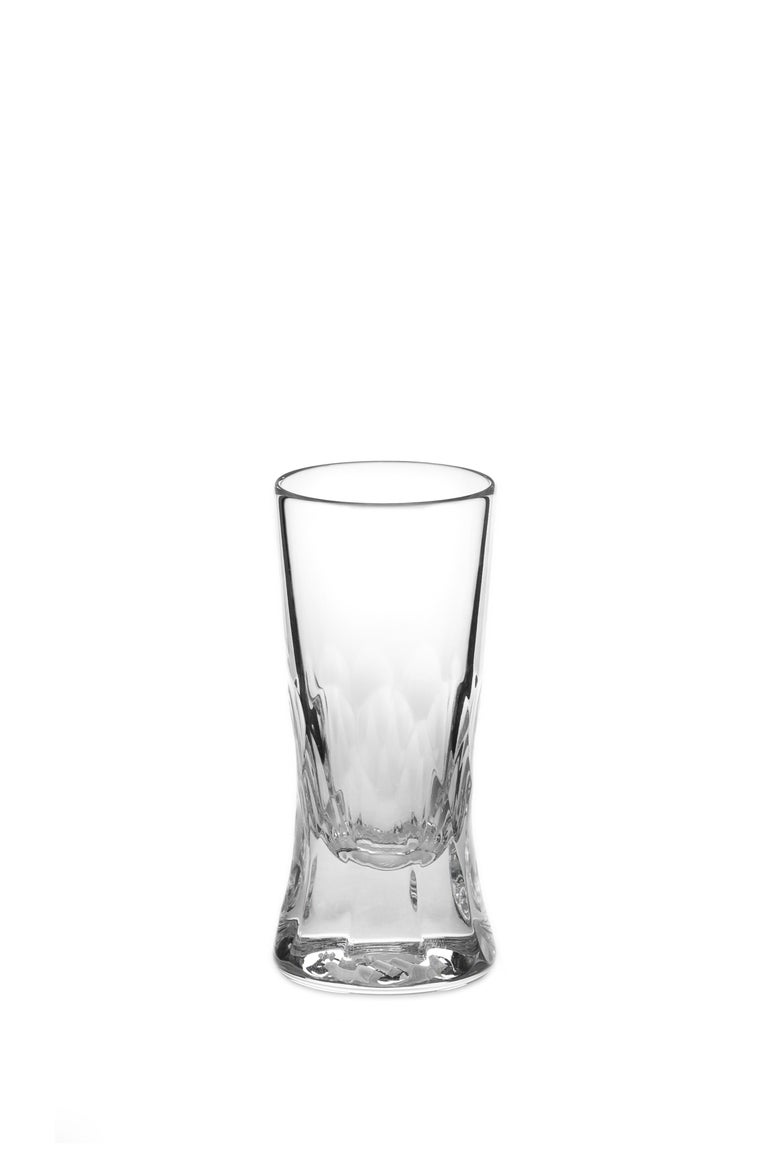 Hand-Crafted Martino Gamper Handmade Irish Crystal Shot Glass 'Cuttings' Series Set of 4 For Sale