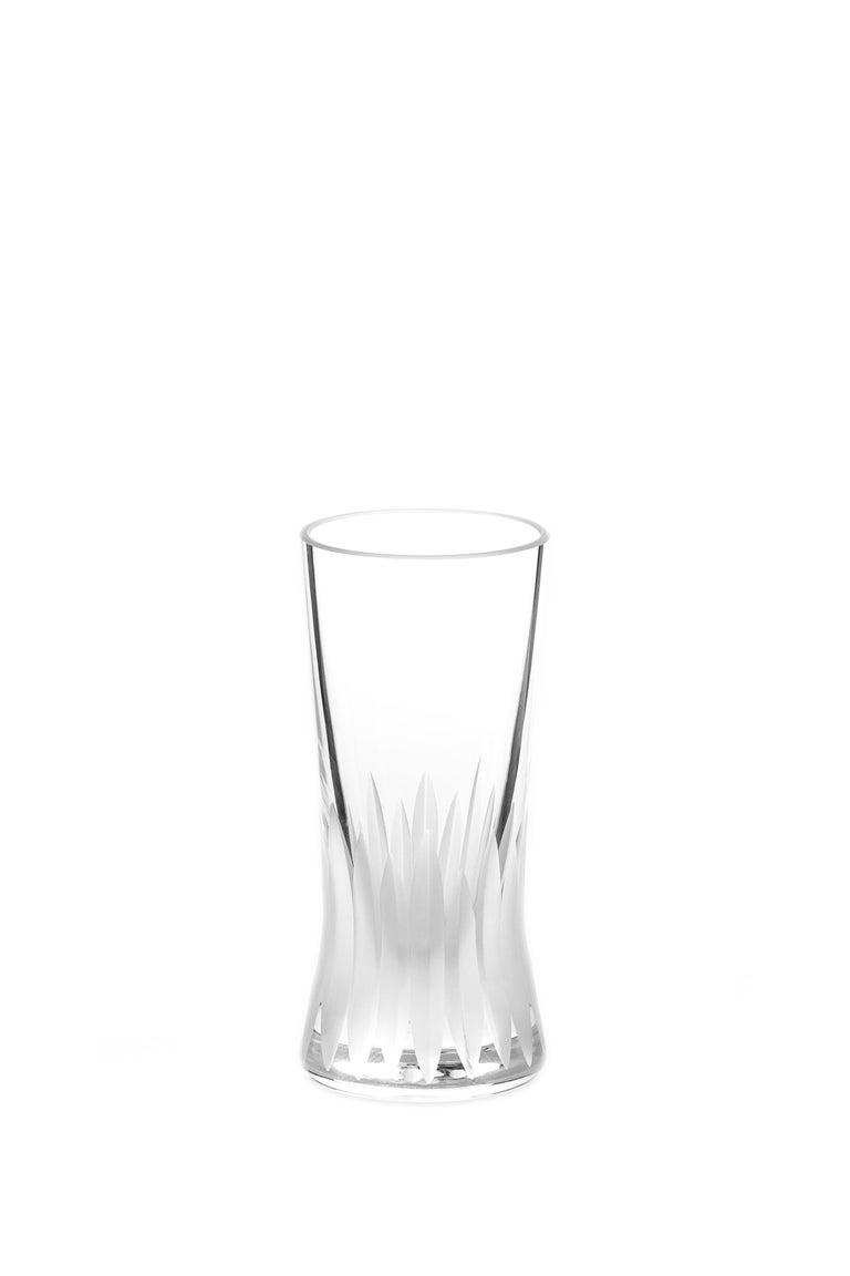 Cut Glass Martino Gamper Handmade Irish Crystal Shot Glass 'Cuttings' Series Set of 4 For Sale
