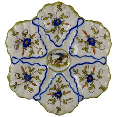 Martres-Tolosane Moustier Floral Oyster Plate, Right Facing Bird