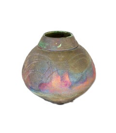 """Raku Vase with Fireworks,"" Colorful Ceramic signed by Marty Markus"