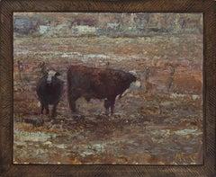 Bull and Cow American Landscape,  Tonalism, Cattle painting, Utah, Idaho