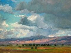 Cloudscape, American Landscape,  Tonalist rural landscape painting,Utah,Idaho