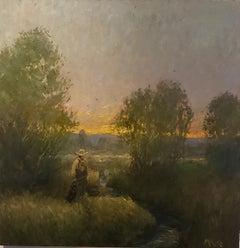 Fly Fishing, American Landscape,  Tonalist , painting, Utah, Idaho,