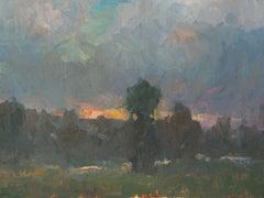 Idaho Sunset, American Landscape,  Tonalist rural landscape painting,Utah,Idaho