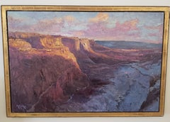 Shafer Trail at First Light,  Landscape,  Tonalist , oil, Utah, Idaho,