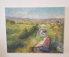 Un  Pueblo en  España, A Village in Spain,Tonalist , oil , Spain Landscape