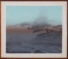 Early, Semi Abstract Landscape, Blue, Gray, Red-Orange, Vintage Color Lithograph