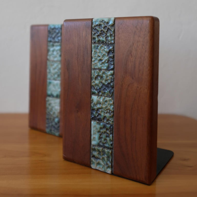 Mid-Century Modern Martz Bookends for Marshall Studios Walnut and Ceramic For Sale