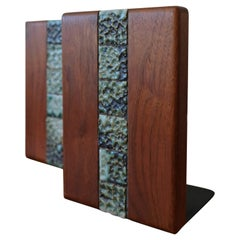 Martz Bookends for Marshall Studios Walnut and Ceramic