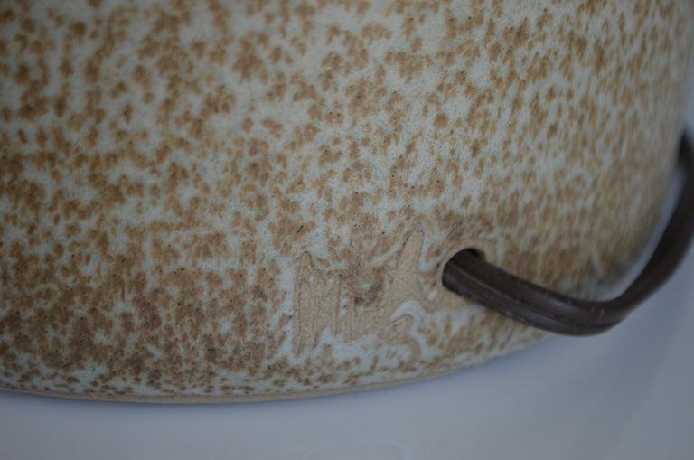 Martz Ceramic Table Lamp Midcentury With Walnut Height